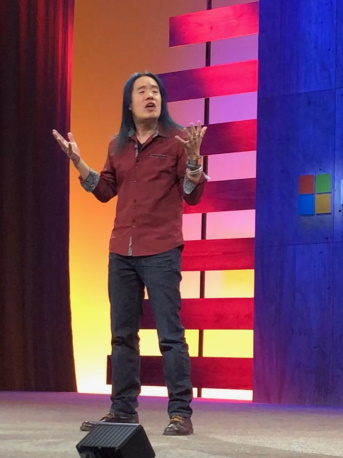 Abel Wang demonstrating GitHub Actions at Microsoft Ignite 2019
