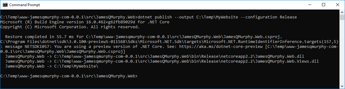Running dotnet publish from the command prompt