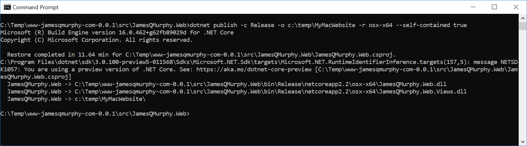 running dotnet publish targetting osx-x64 and taking 11 minutes