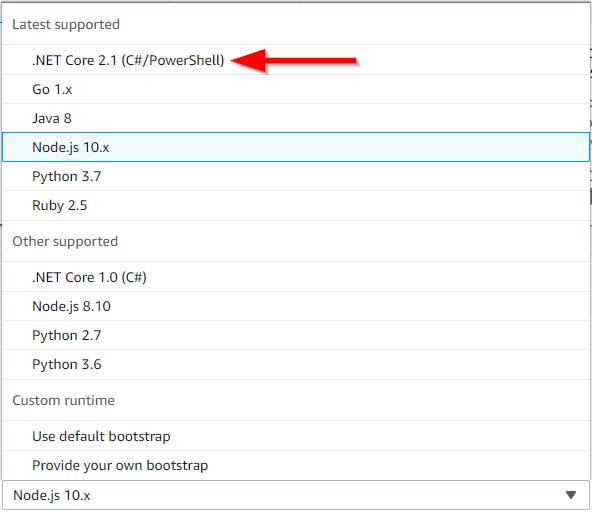 AWS Lambda Runtime Options
