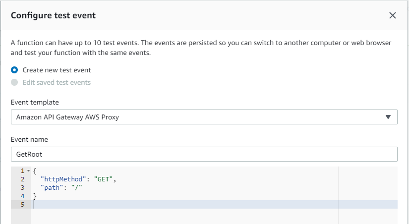 Configuring a Test Event Named