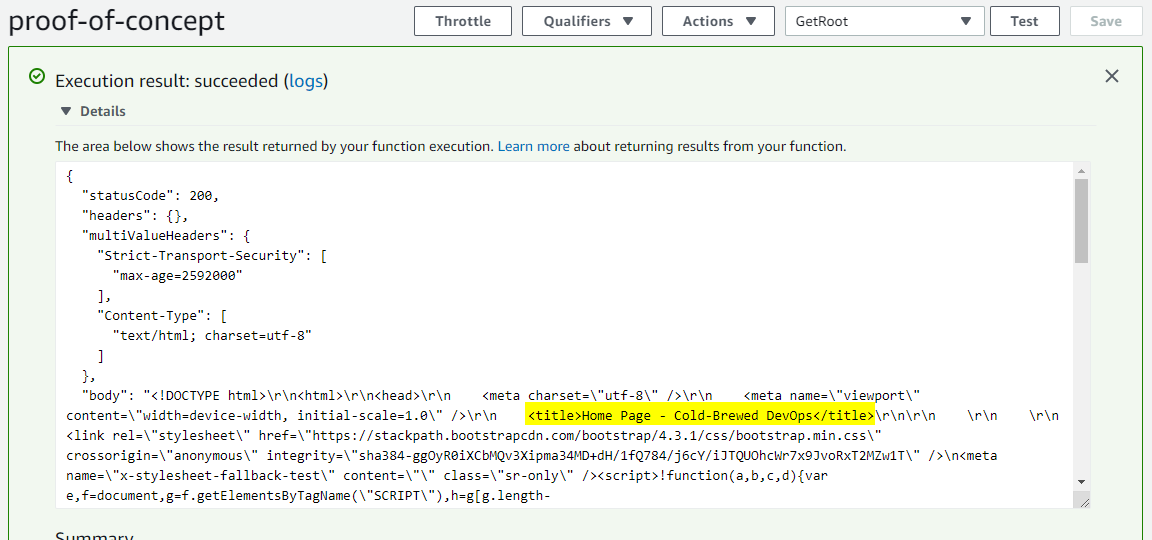 Lambda Function Returning ASP.NET Response