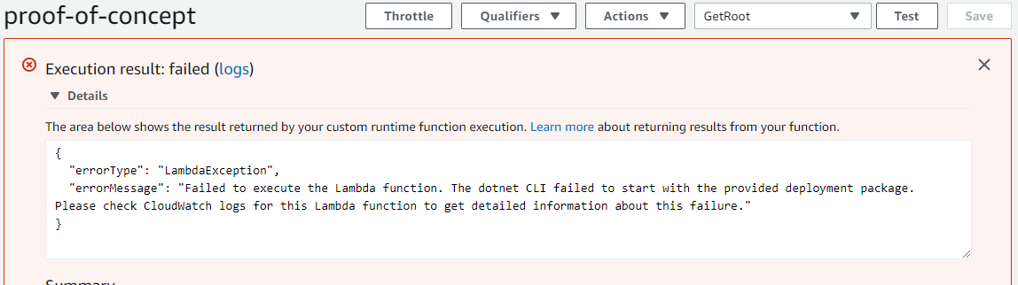 Lambda Function error - CLI not loaded