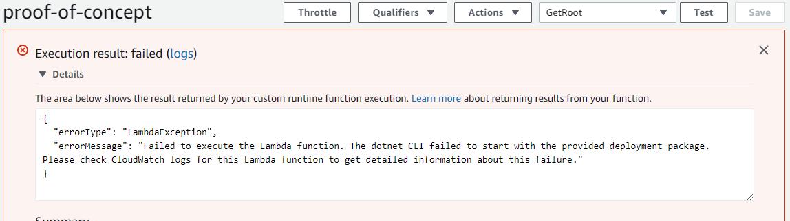 Lambda Function error - CLI not loaded