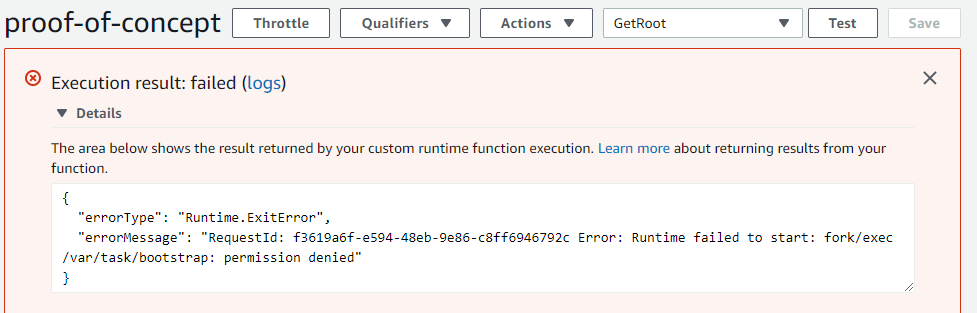 Lambda Function error - Permission Denied