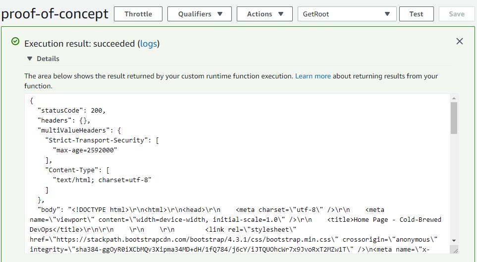 Successful ASP.NET Core 2.2 App on AWS Lambda