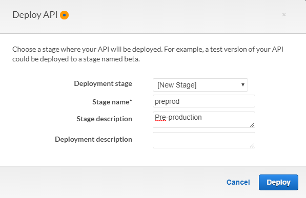 AWS Console - Deploy API window with Deployment Stage set to New Stage, Stage Name set to