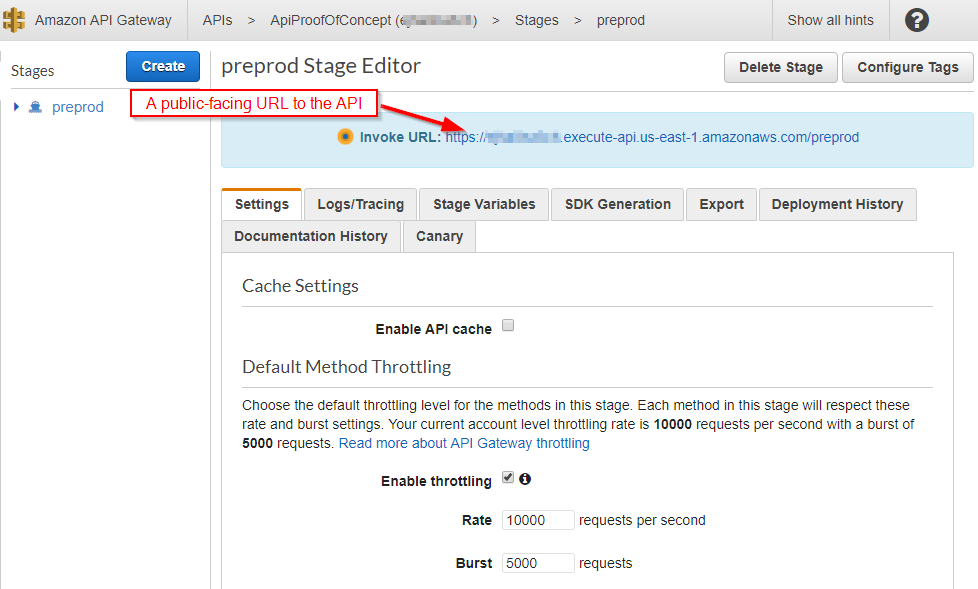 AWS Console - preprod stage editor screen with the Invoke URL highlighted with the comment,