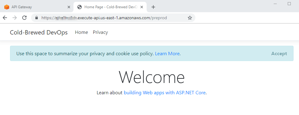 A browser with the invoke URL in the address bar, successfully showing the website