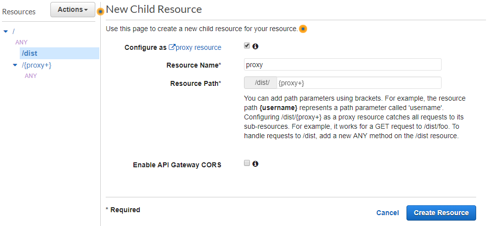 AWS Console - New Child Resource screen under