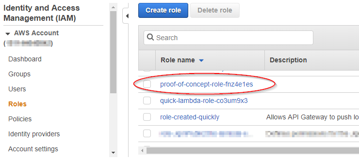 AWS Console - IAM Roles screen with role