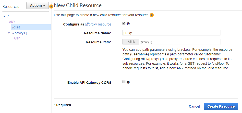 AWS Console - New Child Resource screen with Resource Name set to