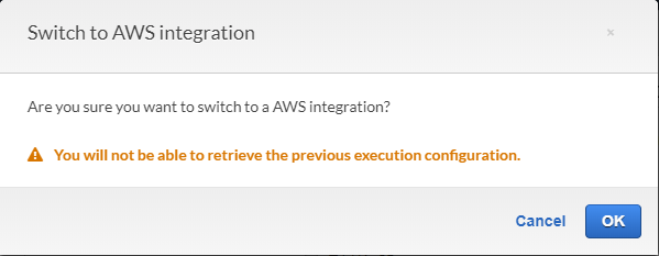 AWS Console - warning message with text,