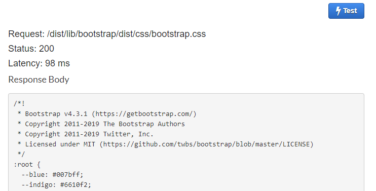 AWS Console - showing a successful test of the GET method with outputs Request: /dist/lib/bootstrap/dist/css/bootstrap.css  Status: 200  Latency: 98 ms  and Response Body with CSS content