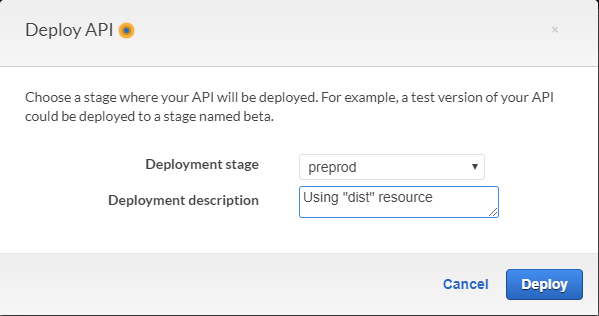 AWS Console - Deploy API screen with Deployment Stage set to