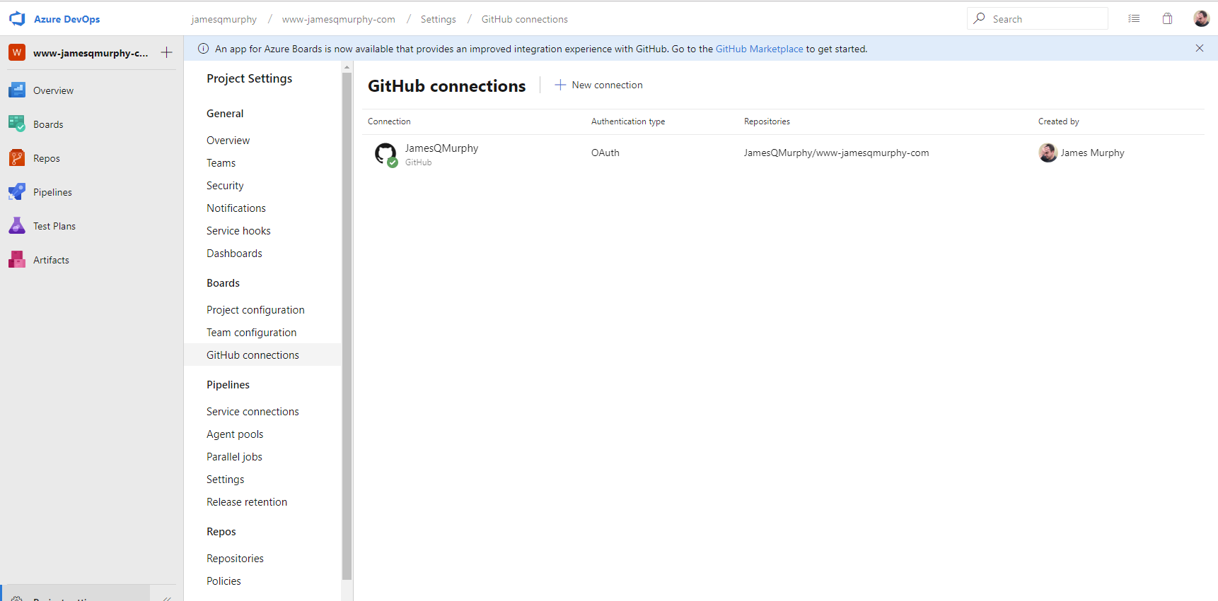 GitHub Connections in Azure DevOps showing single connection to JamesQMurphy