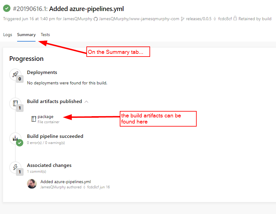 Azure DevOps screen build summary with Summary Tab selected and Build Artifacts section highlighted with message,