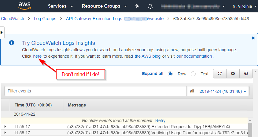 Screen capture of AWS CloudWatch Logs with