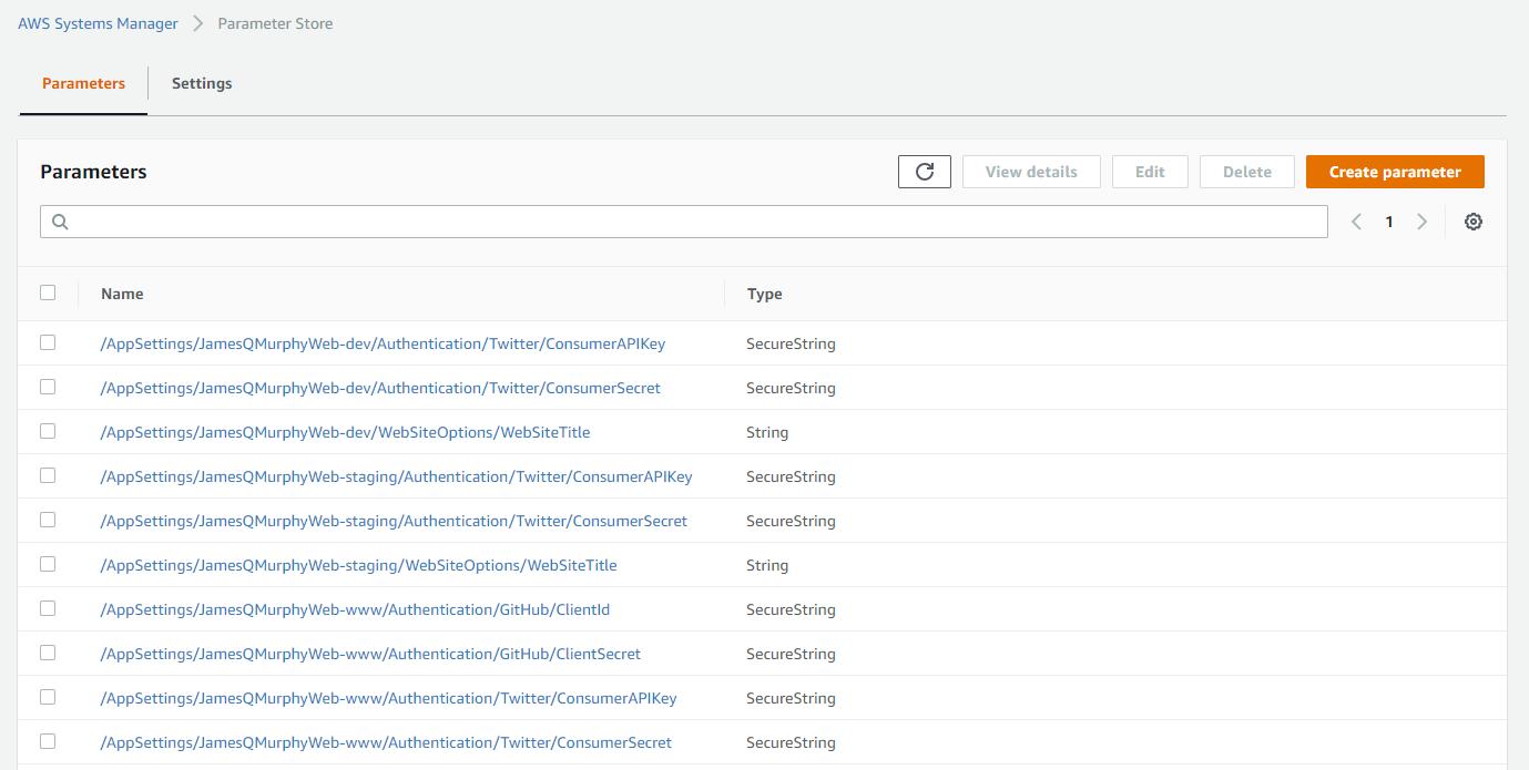 Screenshot of AWS Parameter Store