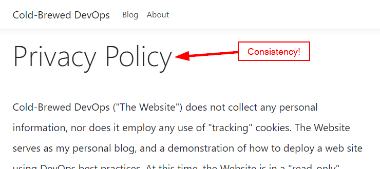 view of Privacy page with the new Title styling